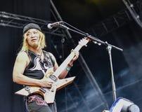 Lautstärkemetallband-Livekonzert 2016, Hellfest-Festival Lizenzfreies Stockfoto