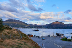 Lauvvik - oanes ferry out on sea Royalty Free Stock Photos