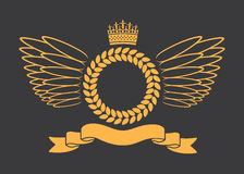 Lauwerkrans met Kroon en Vleugels Royalty-vrije Stock Fotografie