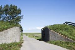 Lauwersweg through Groninger dike, Holland Royalty Free Stock Images
