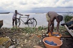 Lavándose y puliendo en el lago Victoria, Uganda Foto de archivo