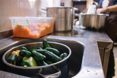 Lavó recientemente los pepinos en un cazo en la cocina en el fregadero Preparación de los productos para cocinar imágenes de archivo libres de regalías