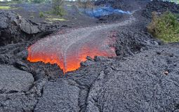 Lava. Fresh lava flow from a volcano Royalty Free Stock Photography