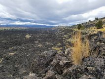 Black lava field in lava beds park in California Royalty Free Stock Photography