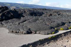Lava blocked the road. In Hawaii stock image