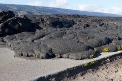 Lava blockierte die Straße Stockbild