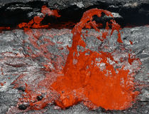 Lava Bubble. Cause by degassing  at the surface of the lava lake in the ethiopian Erta Ale volcano Stock Photography