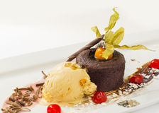 Lava cake with passion flower Stock Images