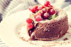 Lava cake in plate Stock Photo