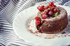 Lava cake in plate Stock Images