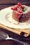 Lava cake and red currants Stock Photography