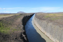 Lava canal in Iceland. Royalty Free Stock Image