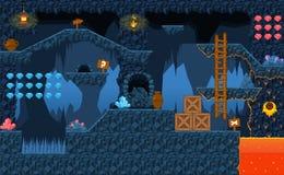 Lava Cave Platformer Tileset stock de ilustración