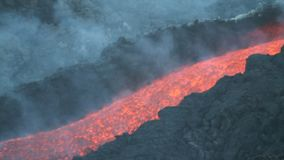 Lava channel. Volcano Etna eruption in August 2014. the eruptive vents in the video were found at the eastern base of the Northeast Crater stock video