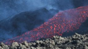 Lava channel. Volcano Etna eruption in August 2014. the eruptive vents in the video were found at the eastern base of the Northeast Crater stock footage