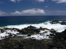 Lava Coastline vulcânico de Rapa Nui fotografia de stock royalty free