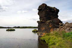 Lava column at Myvatn lake, Iceland Royalty Free Stock Photos