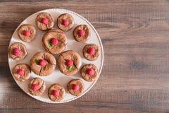 A lava deliciosa do chocolate endurece com framboesas e a hortelã frescas, na placa Fotos de Stock Royalty Free
