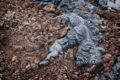 Lava Detail, Hawaii. A detail of rope lava in a lava field at Volcanoes National Park on the Big Island of Hawaii Royalty Free Stock Images
