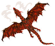 Lava dragon. Dragon from lava, terrible creature breathing fire, vector illustration Stock Photo
