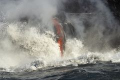 Lava entering the ocean, Big Island, Hawaii Royalty Free Stock Image