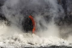 Lava entering the ocean, Big Island, Hawaii Stock Photos