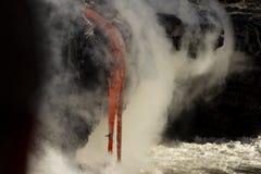 Lava entering the ocean, Big Island, Hawaii Stock Photo