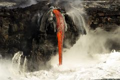 Lava entering the ocean, Big Island, Hawaii Royalty Free Stock Images