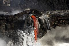 Lava entering the ocean, Big Island, Hawaii Stock Photography