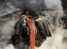 Lava entering the ocean, Big Island, Hawaii. Lava entering the ocean with steam, Big Island, Hawaii Stock Image