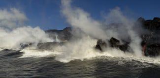 Lava entering the ocean, Big Island, Hawaii. Lava entering the ocean with steam, Big Island, Hawaii Royalty Free Stock Photos