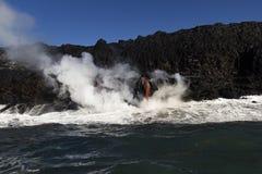 Lava entering the ocean, Big Island, Hawaii. Lava entering the ocean with steam, Big Island, Hawaii Stock Photography