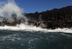 Lava entering the ocean, Big Island, Hawaii Royalty Free Stock Photography