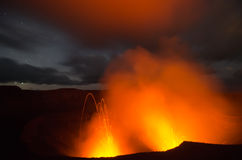 Lava explosion on Yasur Volcano Royalty Free Stock Image