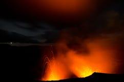 Lava explosion on Yasur Volcano. In Vanuatu, at night royalty free stock photo
