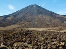Lava field volcano Mount Ngauruhoe in New Zealand Royalty Free Stock Photos