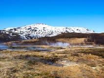 Lava Field bei Stokkur Geysir stockfoto