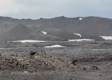 Lava field covered with snow in Askja, Highlands of Iceland, Europe royalty free stock photography