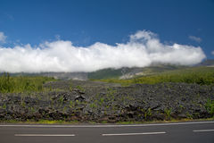Lava field. Lava Eruption at La Fournaise on Reunion island, Coulee de Lave Stock Photo