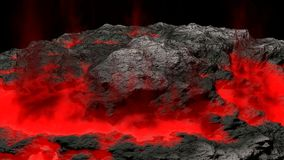 Lava field and glossy rocky land Stock Photo
