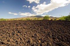 Lava field, Haleakala volcano in background, Maui, Hawaii Stock Images