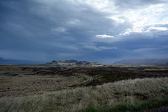 Lava field in Iceland in West fjords area on the background of distant mountains and stormy sky . Stock Photography