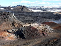 The lava field of Leirhnjukur. Black hot lava field of Leirhnjukur in the north of Iceland Stock Image