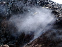 The lava field of Leirhnjukur. Black hot lava field of Leirhnjukur in the north of Iceland Stock Images