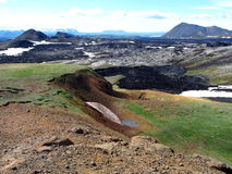 The lava field of Leirhnjukur. In the north of Iceland Royalty Free Stock Photo