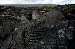 Lava field surface near Chain of Craters Road Stock Images