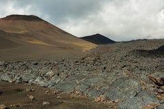 Lava field at Tolbachik volcano, after eruption in 2012, Klyuchevskaya Group of Volcanoes Stock Photo