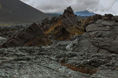 Lava field at Tolbachik volcano, after eruption in 2012, Klyuchevskaya Group of Volcanoes Royalty Free Stock Photos