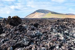 Lava field and tourist road trail to vulcano Caldera Blanca, Lanzarote, Canary Islands, Spain.  royalty free stock photos