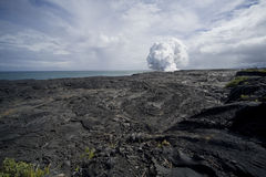 Lava Field View of Steam Cloud Royalty Free Stock Photos